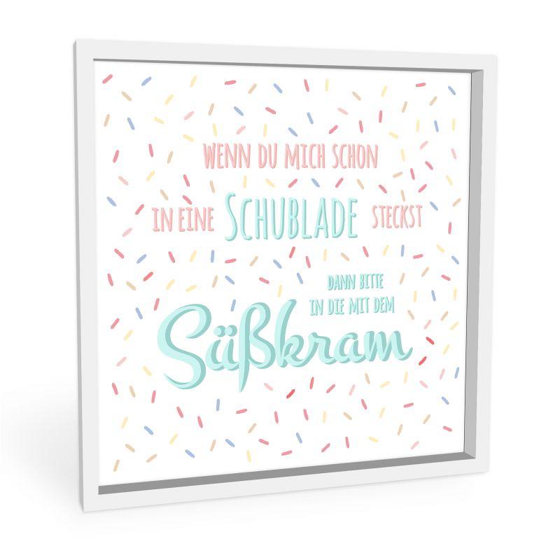 Wandbild Schublade mit Süßkram - quadratisch