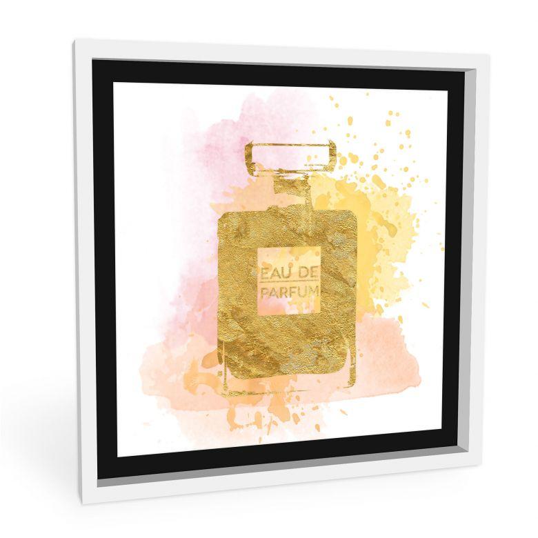 Hartschaum-Wandbild Eau de Parfum Aquarell - Gold | wall-art.de