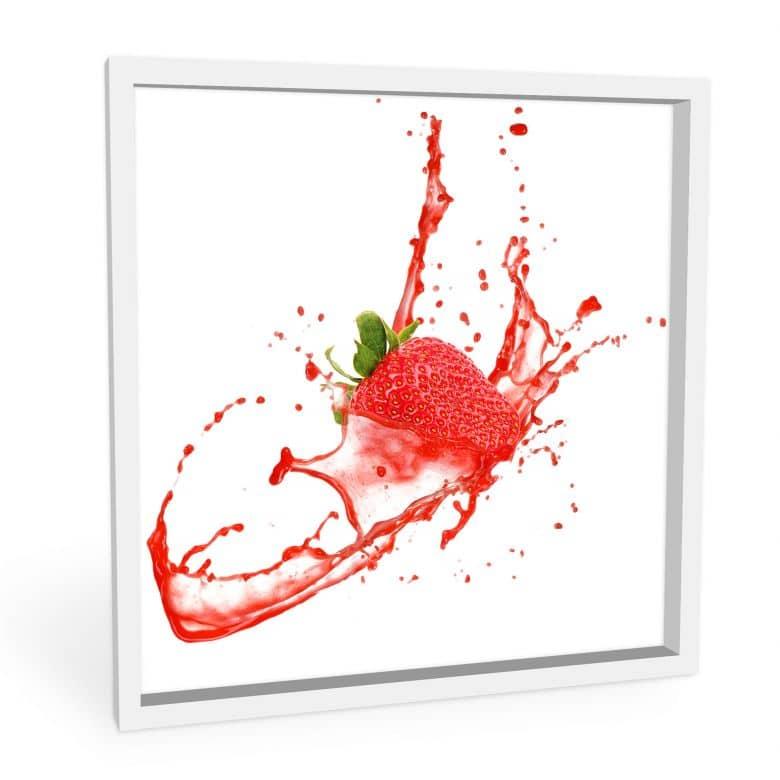 Wandbild Splashing Strawberry