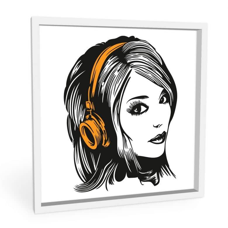 Wandbild Girl with Headphones