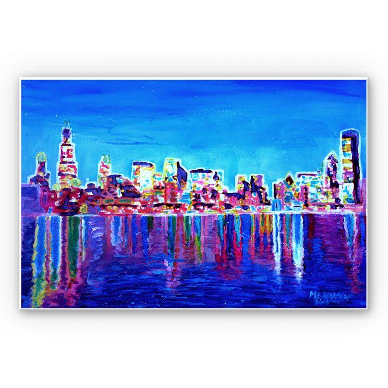 Wandbild Bleichner - Chicago im Neonschimmer