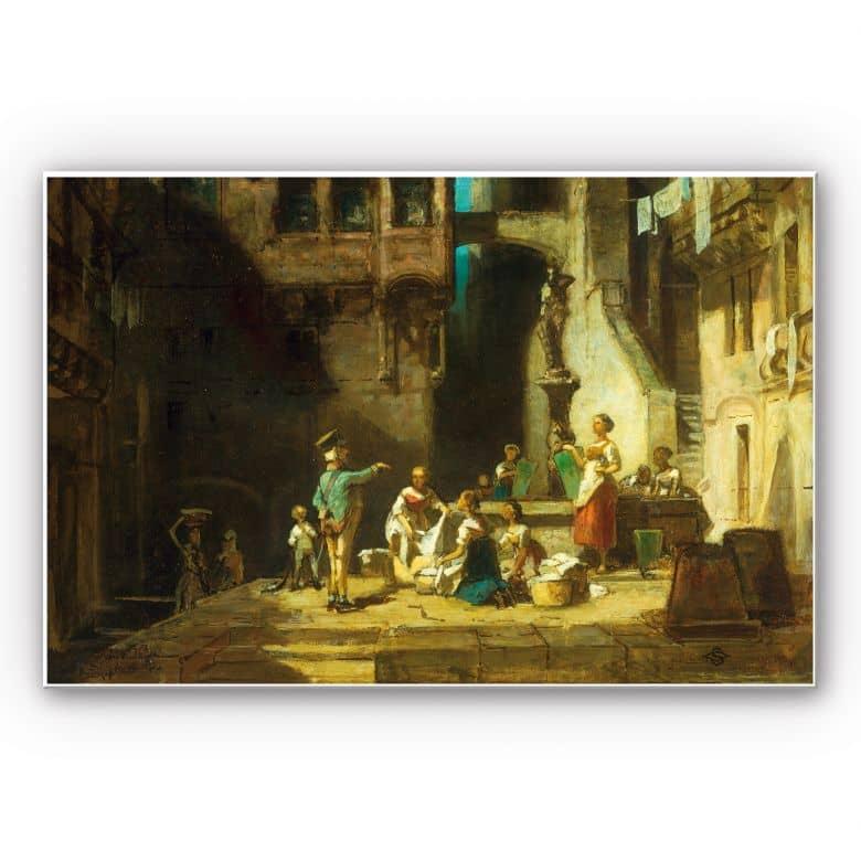 Tableau Forex - Spitzweg - Les lessiveuses à la fontaine