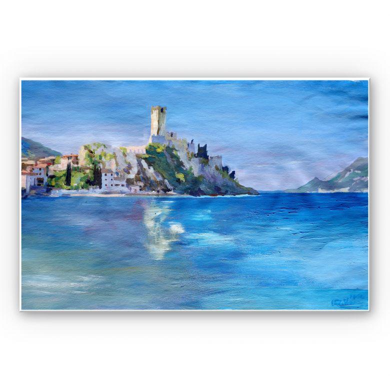 Wandbild Bleichner - Malcesine mit der Castello Scaligero