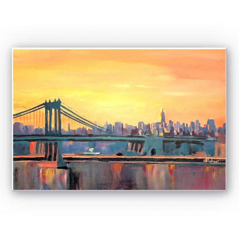 Wandbild Bleichner - Blue Manhattan Skyline with Bridge and Vanilla Sky