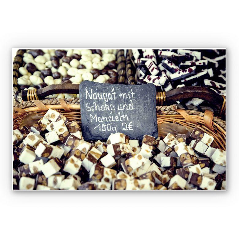 Wandbild Nougat mit Schokolade und Mandeln