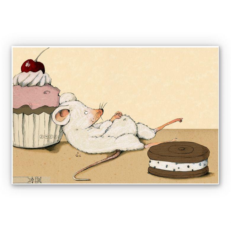 Wandbild Loske - Maus mit Muffin