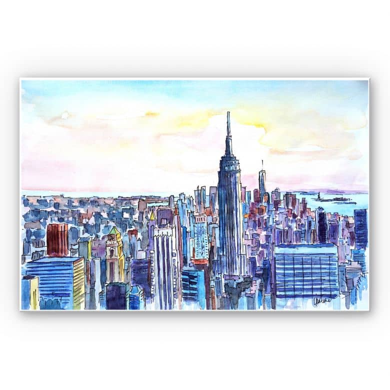 Wandbild Bleichner - Manhattan Skyline - Aquarell