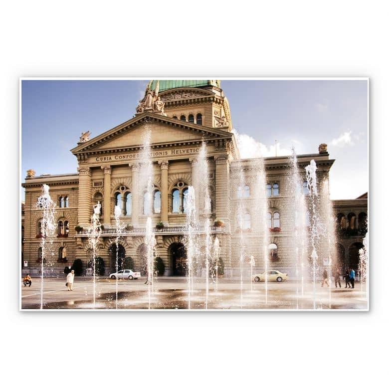 Wandbild Wasserspiel vor Schweizer Parlamentsgebäude