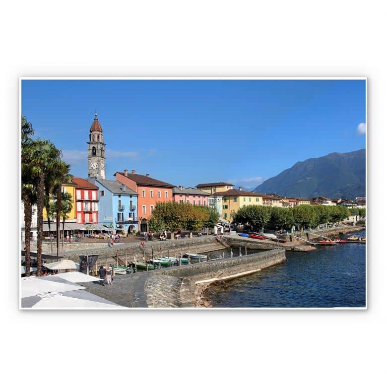 Wandbild Hafenpromenade am Lago Maggiore