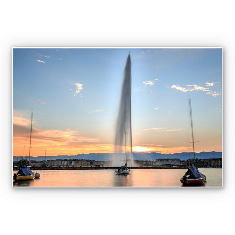 Wandbild Wasserfontäne im Genfer Sonnenuntergang