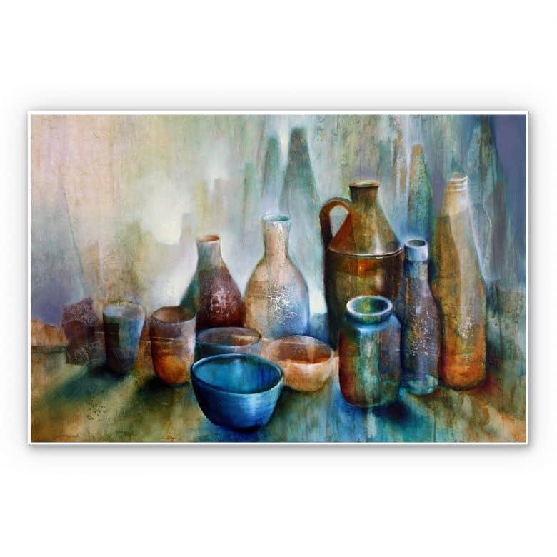 Wandbild Schmucker - Stillleben mit blauer Schale