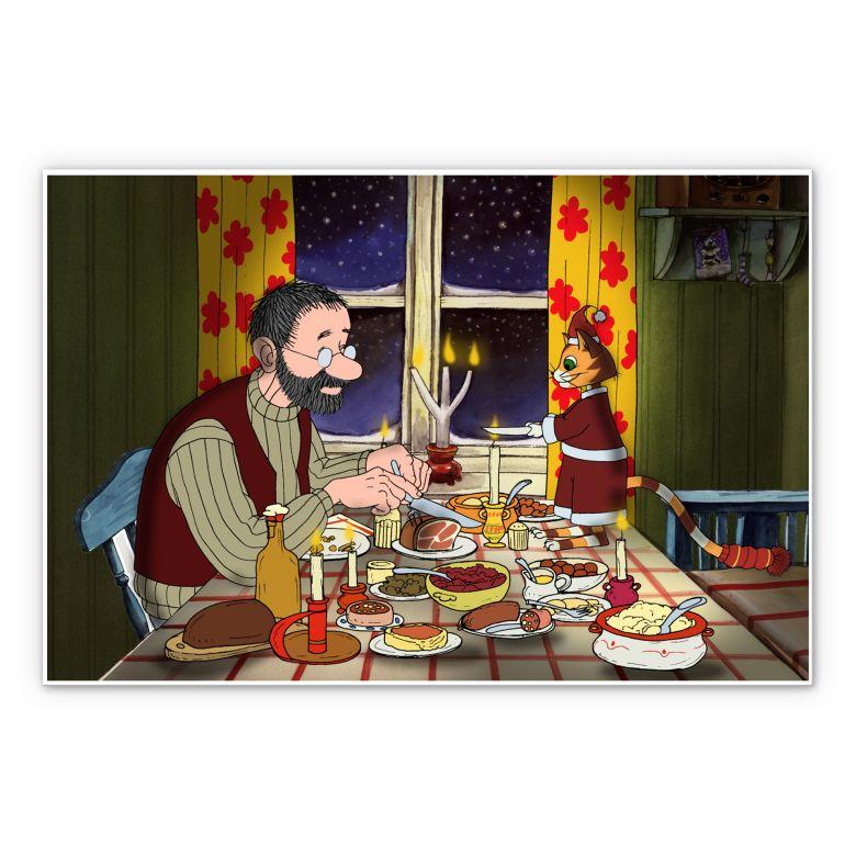 Wandbild Pettersson und Findus - Abendmahl bei Kerzenlicht
