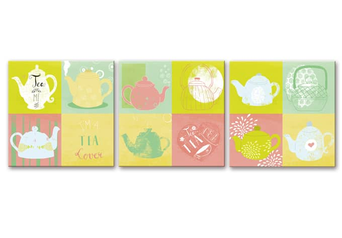Wandbild Loske - Tea Time (3-teilig)