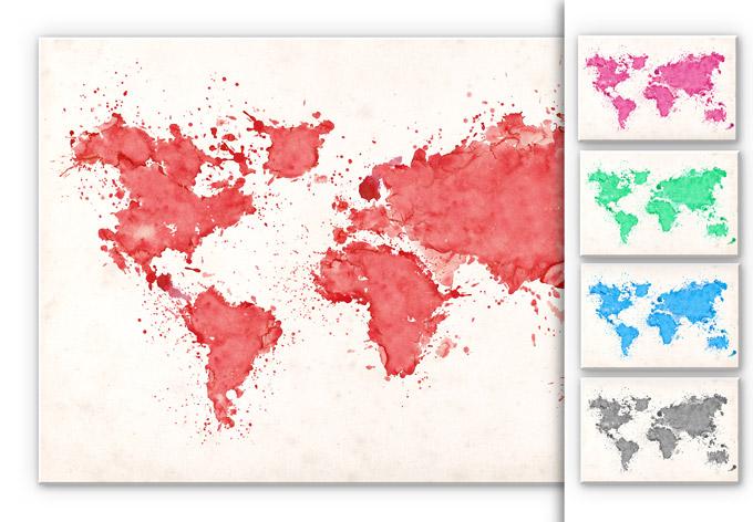 Wandbild Weltkarte Aquarell