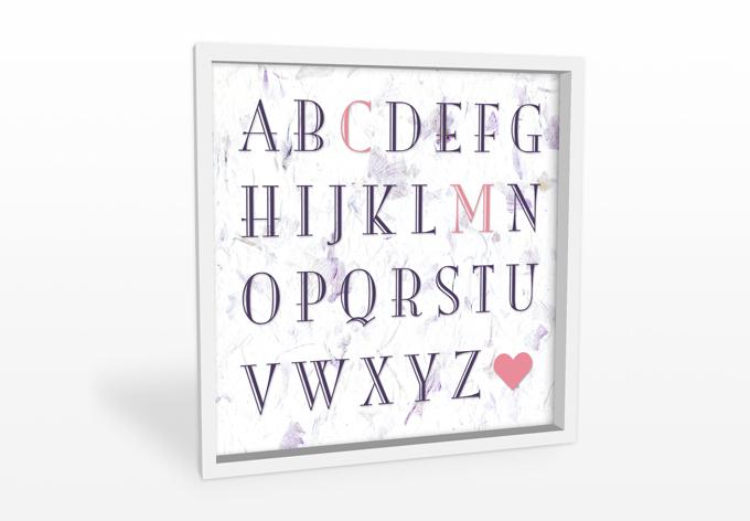 Wandbild + Wunschtext Love Alphabet 02