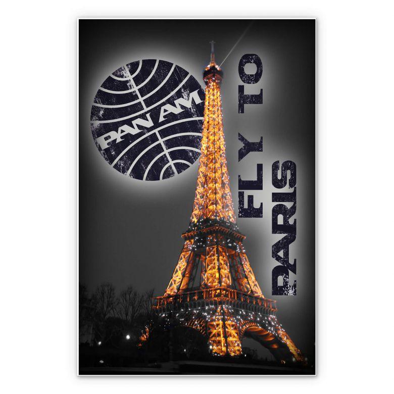 Wandbild PAN AM - Paris Eiffelturm beleuchtet