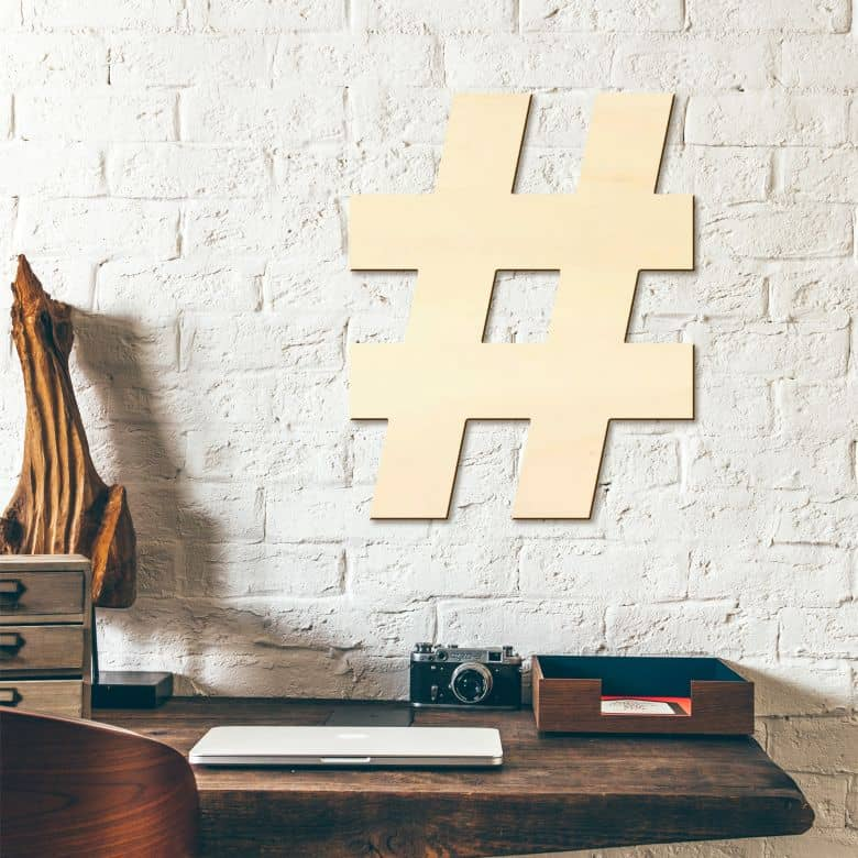 Hashtag Wooden Sign