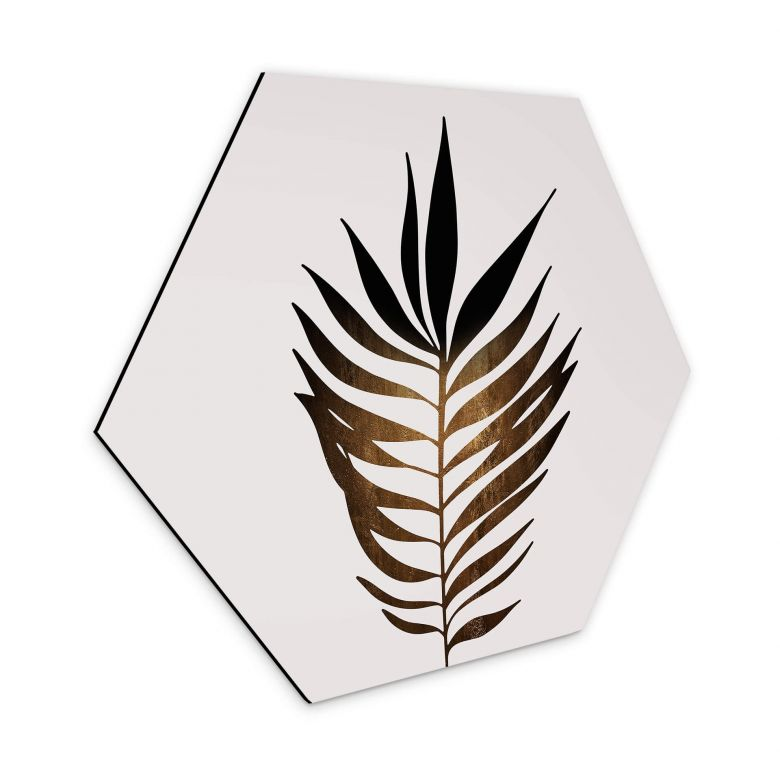 Hexagon Dibond Kubistika - Golden Leaf