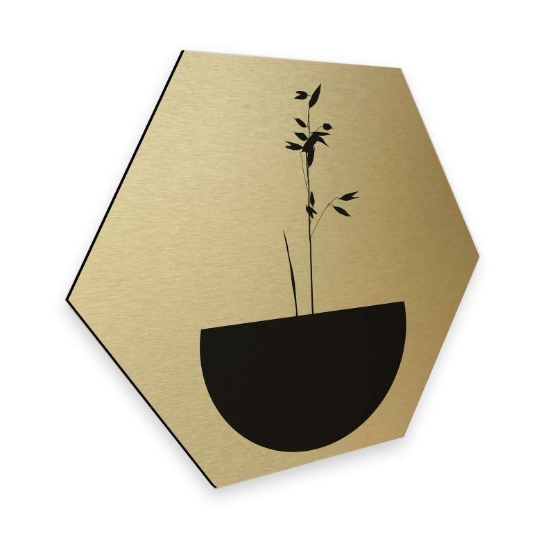 Hexagon - Alu-Dibond Goldeffekt Kubistika - Abstracticum