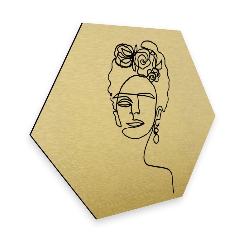 Hexagon - Alu-Dibond-Goldeffekt - Hariri - Frida Kahlo