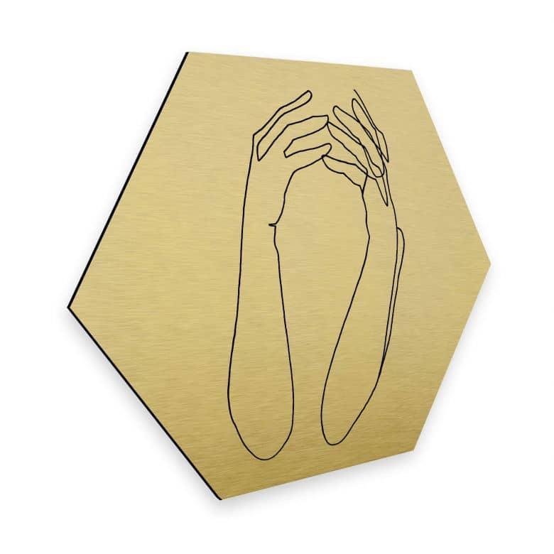 Hexagon - Alu-Dibond-Goldeffekt - Hariri - Desperate
