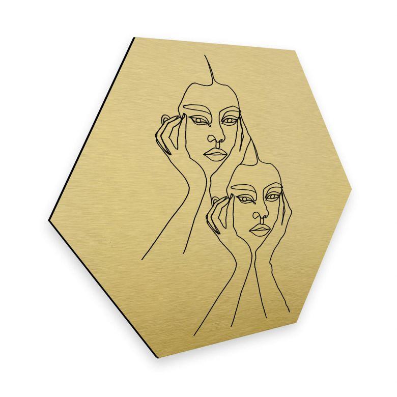 Hexagon - Alu-Dibond-Goldeffekt - Hariri - I'm pretty tired