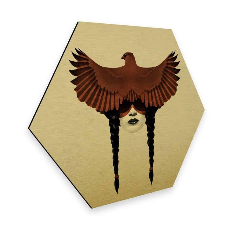 Hexagon - Alu-Dibond-Goldeffekt Ireland - Dark Cardinal