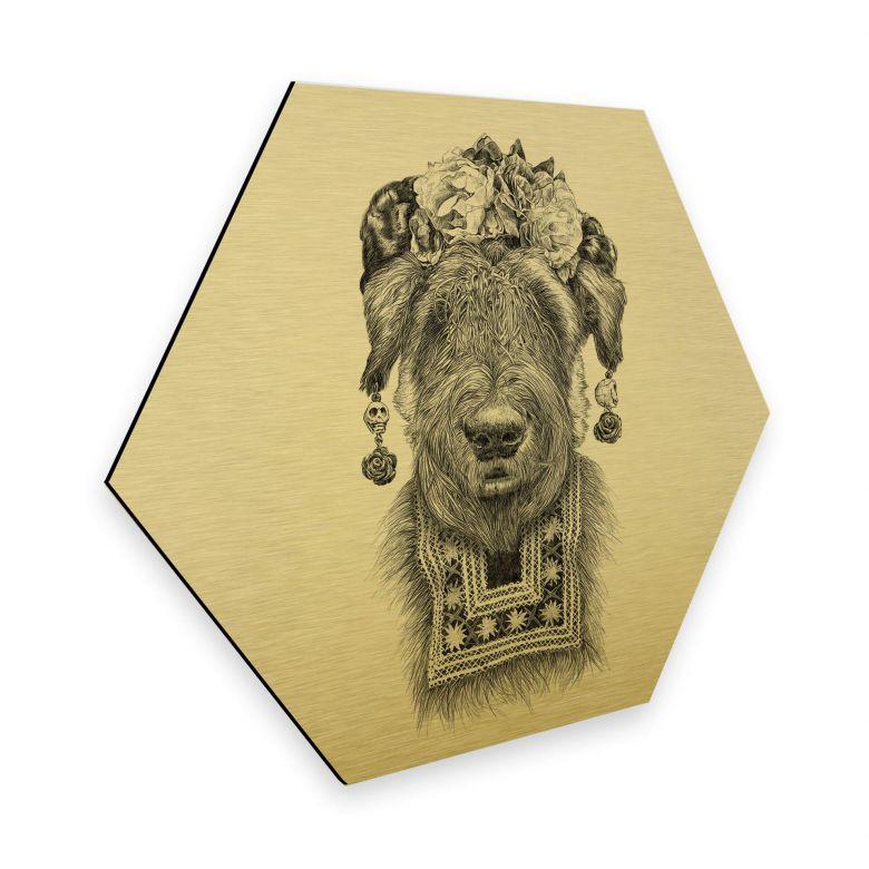Hexagon - Alu-Dibond Gold effect Kools - Suusi Kahlo
