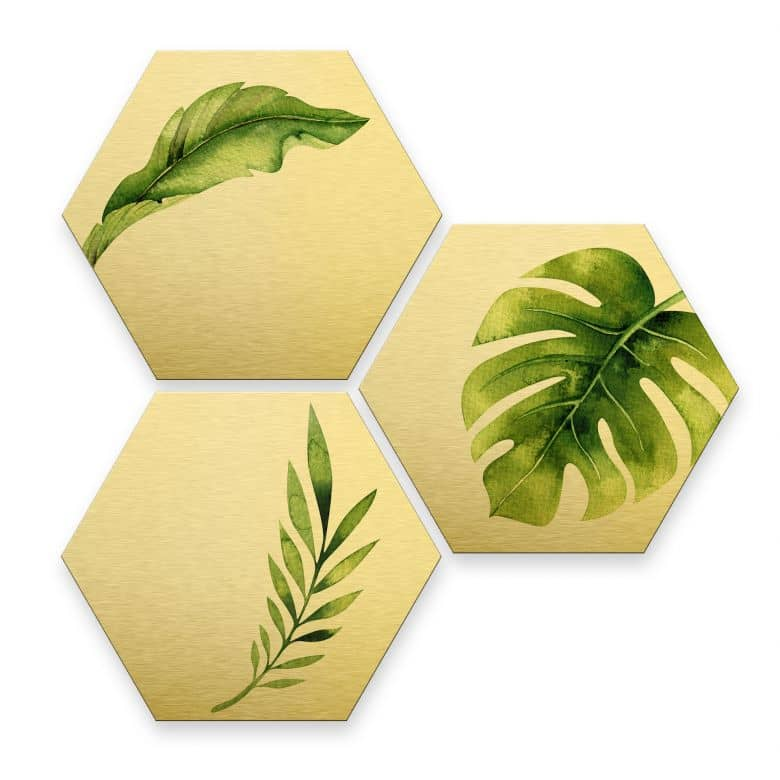 Hexagon - Alu-Dibond-Goldeffekt - Kvilis - Dschungel 04 (3er Set)
