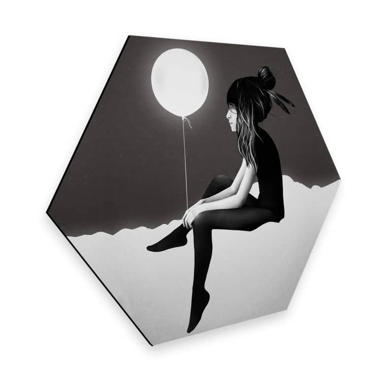 Hexagon - Alu-Dibond - Ireland - No such thing as nothing by night - leuchtender Ballon