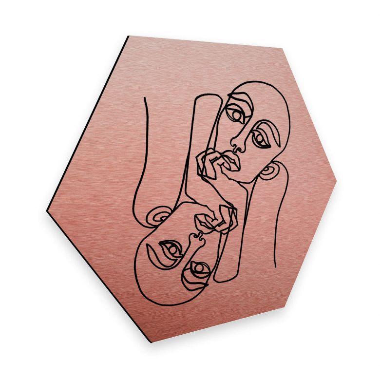 Hexagon - Alu-Dibond-Kupfereffekt - Hariri - Ava