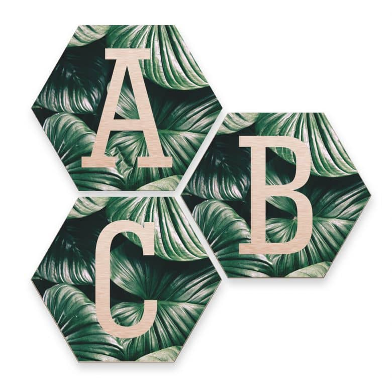 Hexagon Alu-Dibond Koper Decoratieletters - Jungle