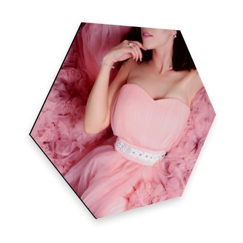 Hexagon - Alu-Dibond - Das rosa Kleid