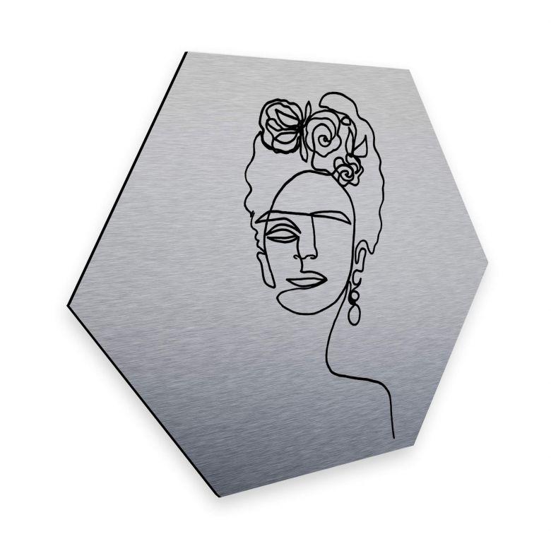 Hexagon - Alu-Dibond-Silbereffekt - Hariri - Frida Kahlo