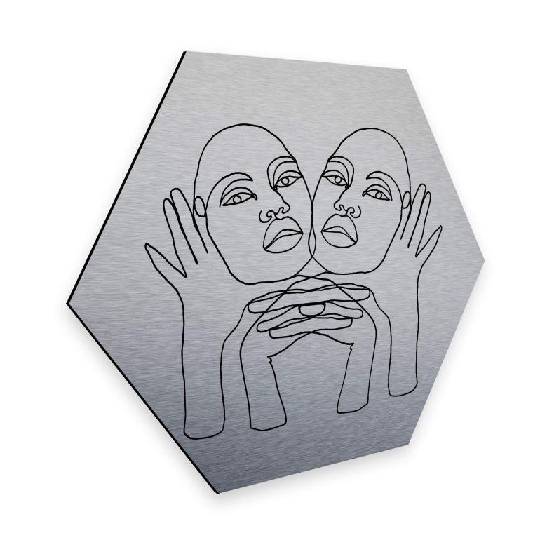 Hexagon - Alu-Dibond-Silbereffekt - Hariri - Phylli