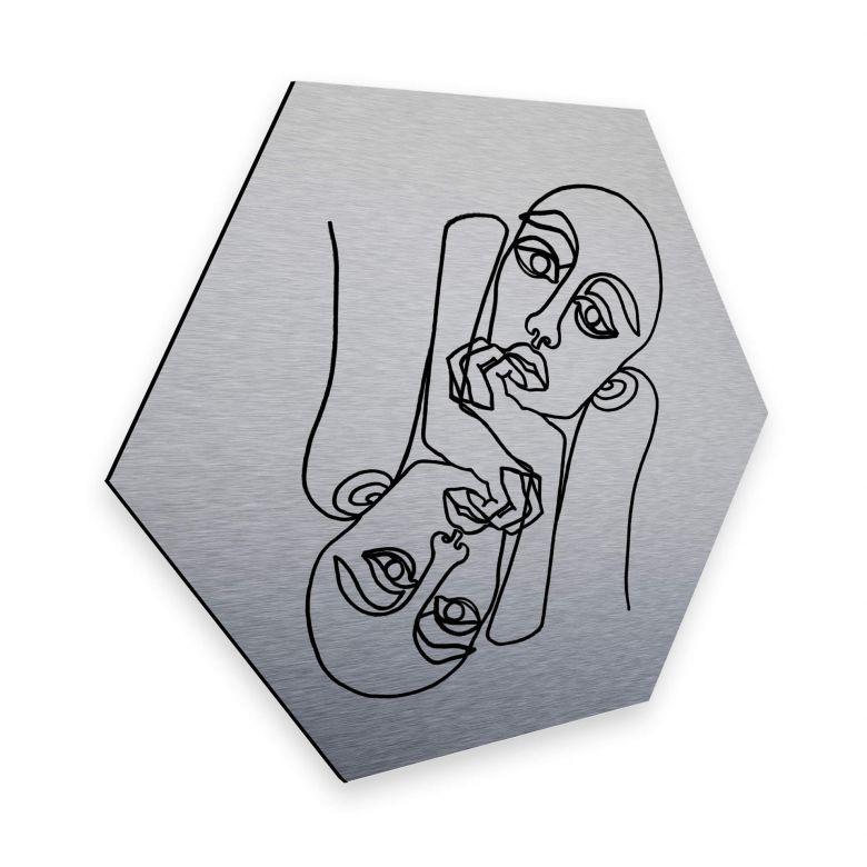 Hexagon - Alu-Dibond-Silbereffekt - Hariri - Ava