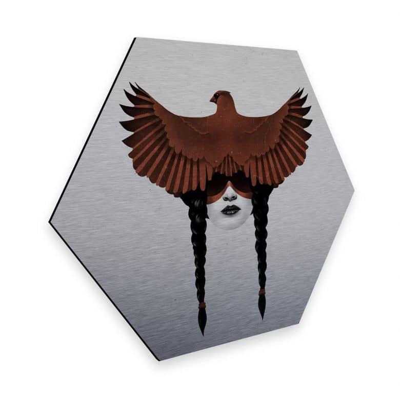 Hexagon - Alu-Dibond Silbereffekt Ireland - Dark Cardinal