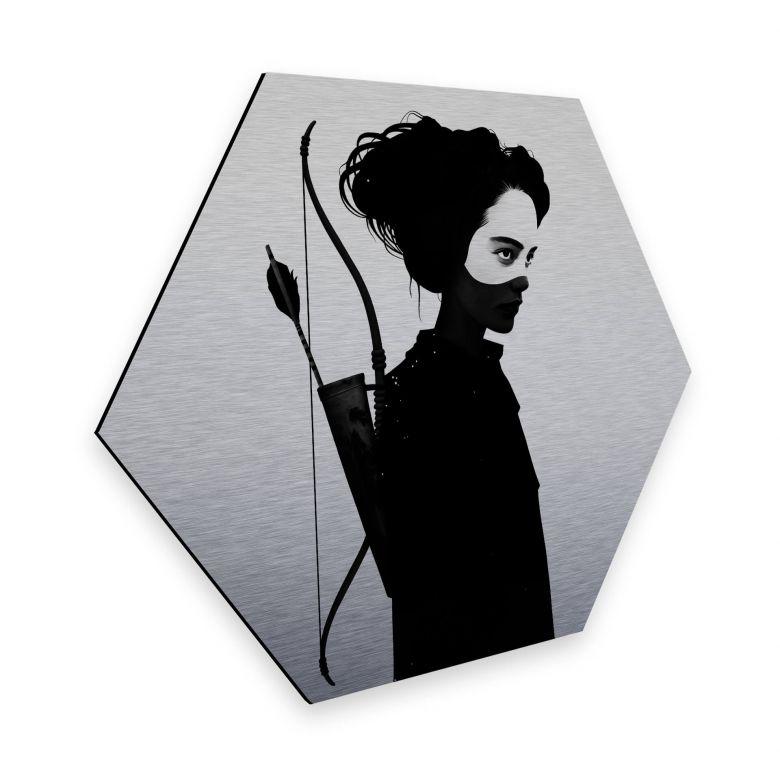 Hexagon - Alu-Dibond-Silbereffekt Ireland - Four of Hearts