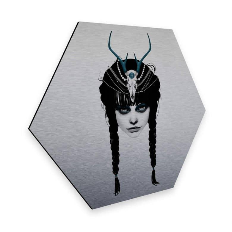 Hexagon - Alu-Dibond mit Silbereffekt Ireland - Wakeful warrior