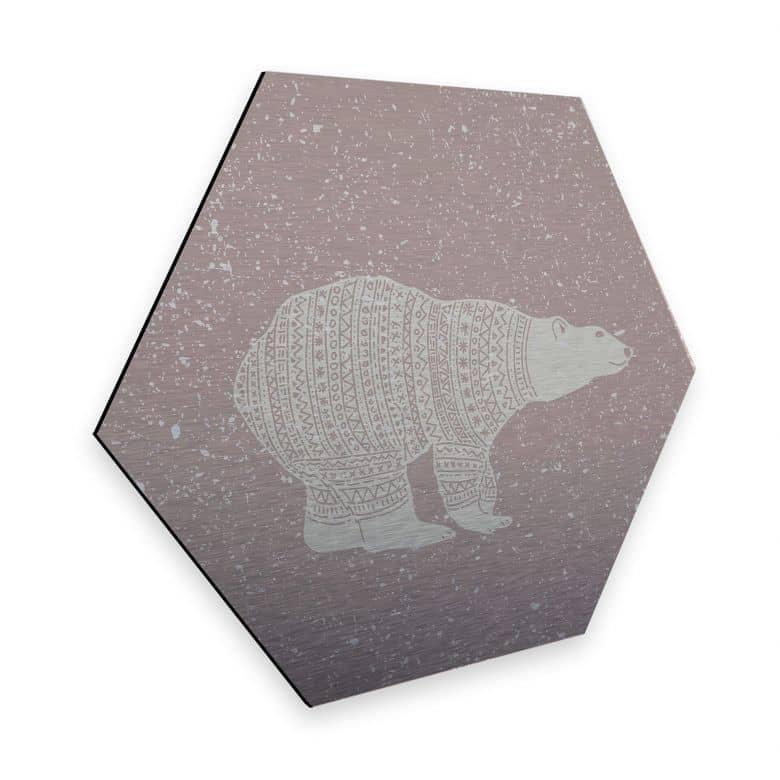 Hexagon - Alu-Dibond-Silbereffekt Polarbär Weiß