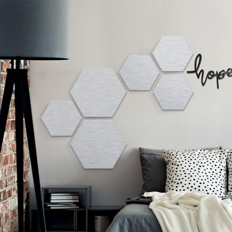 Hexagon - aluminium silver effect - set of 3