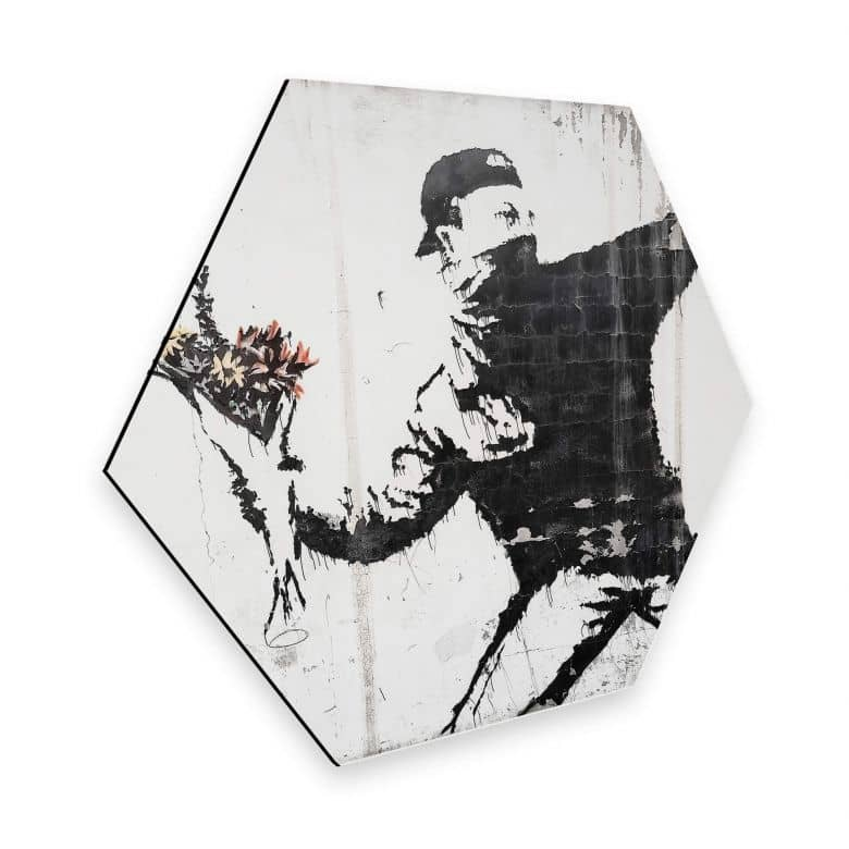 Hexagon - Alu-Dibond Banksy - Flower Thrower