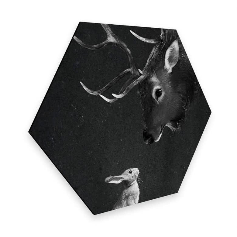 Hexagon - Alu-Dibond Graves - Deer and Rabbit