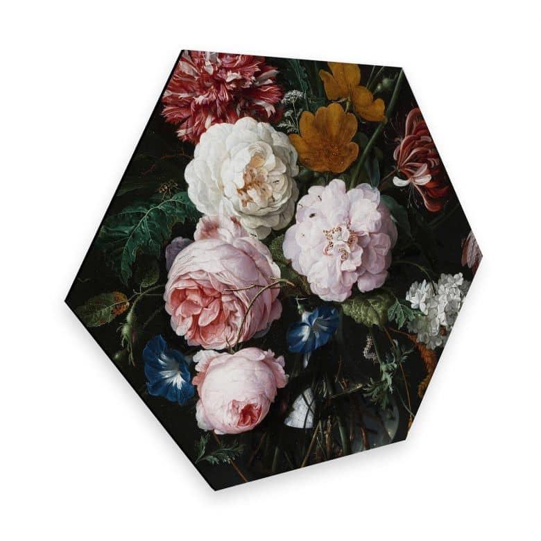 Hexagon - Alu-Dibond Heem - Stillleben mit Blumen in einer Glasvase