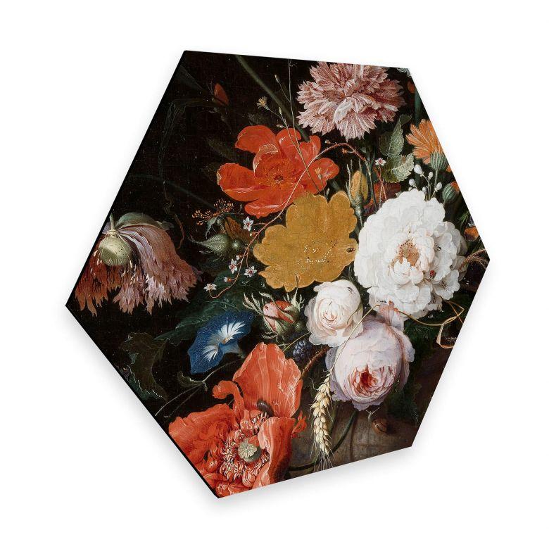 Hexagon - Alu-Dibond Mignon - Stillleben mit Blumen und einer Uhr