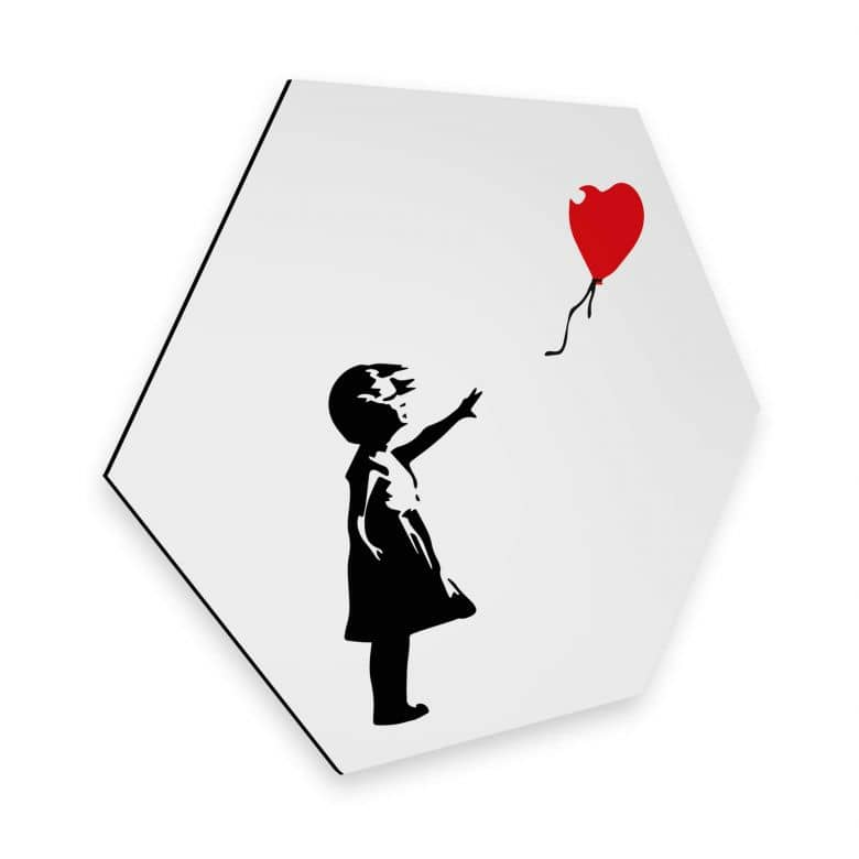 Hexagon - Alu-Dibond Banksy - Girl with the red balloon