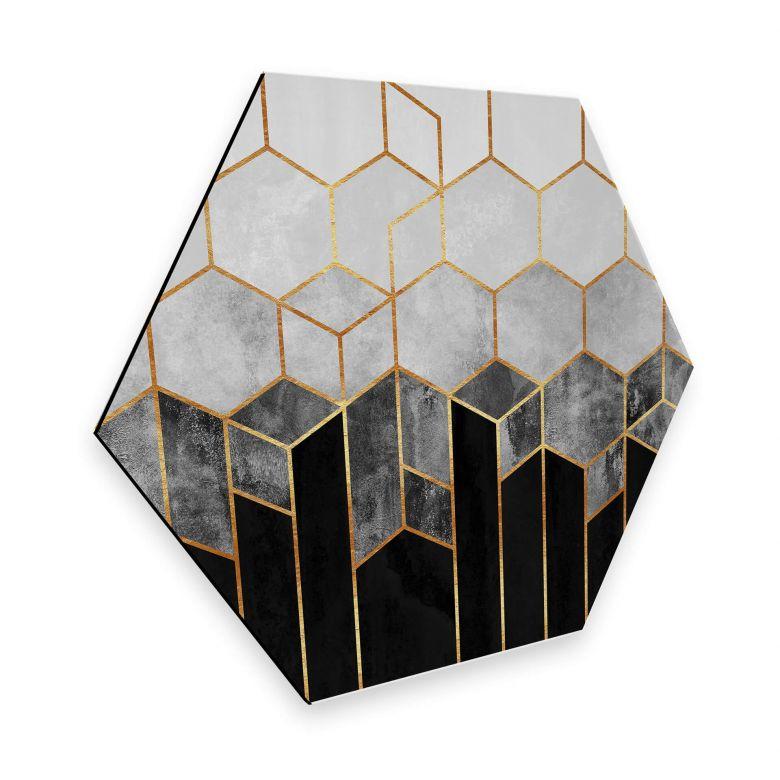 Hexagon Dibond Fredriksson - Black hexagons