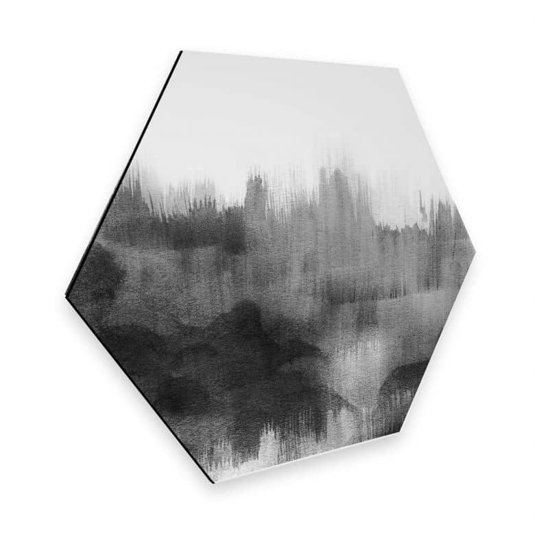 Hexagon - Alu-Dibond Nouveauprints - Watercolour Brush Strokes (schwarz)