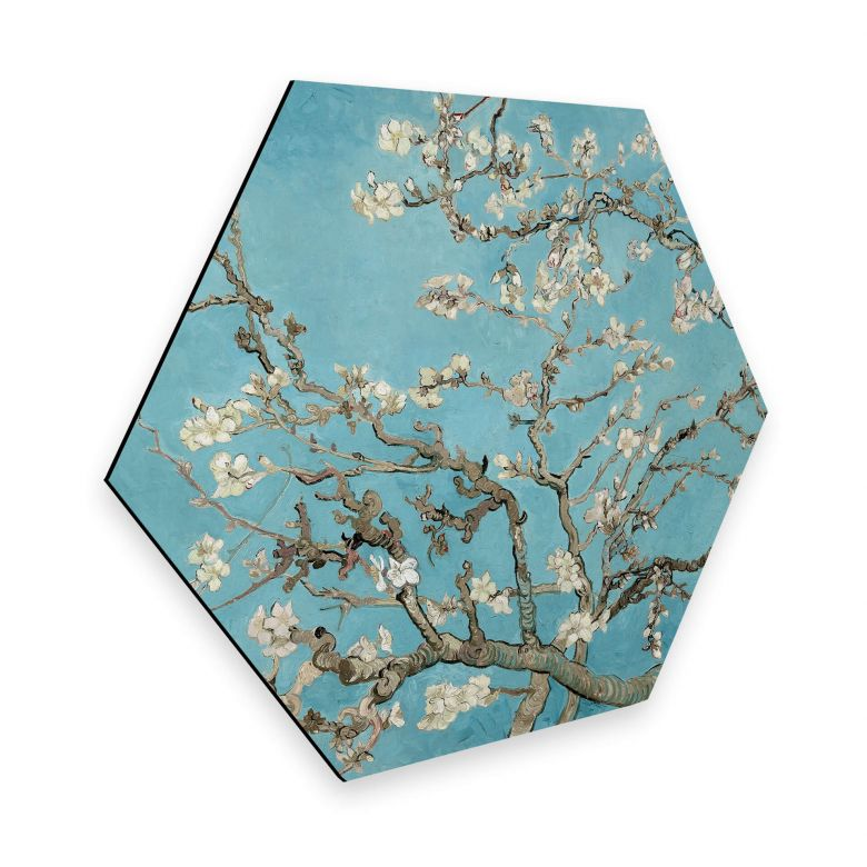 Hexagon - Alu-Dibond van Gogh - Mandelblüte