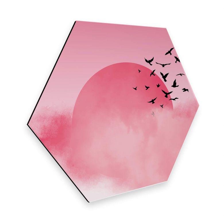 Hexagon - Alu-Dibond Nordic Creators - Pink Sunshine